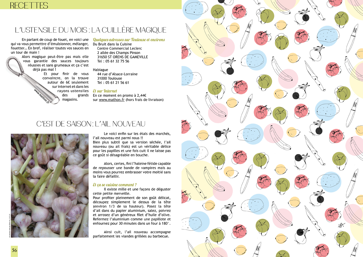 isabelle reynier graphiste - double page cuisine pour Sweet time magazine