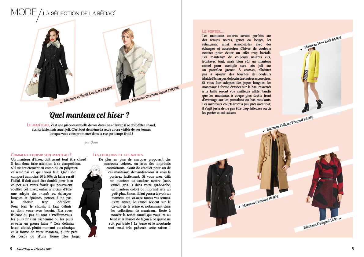 isabelle reynier graphiste - double page mode femme pour Sweet time magazine