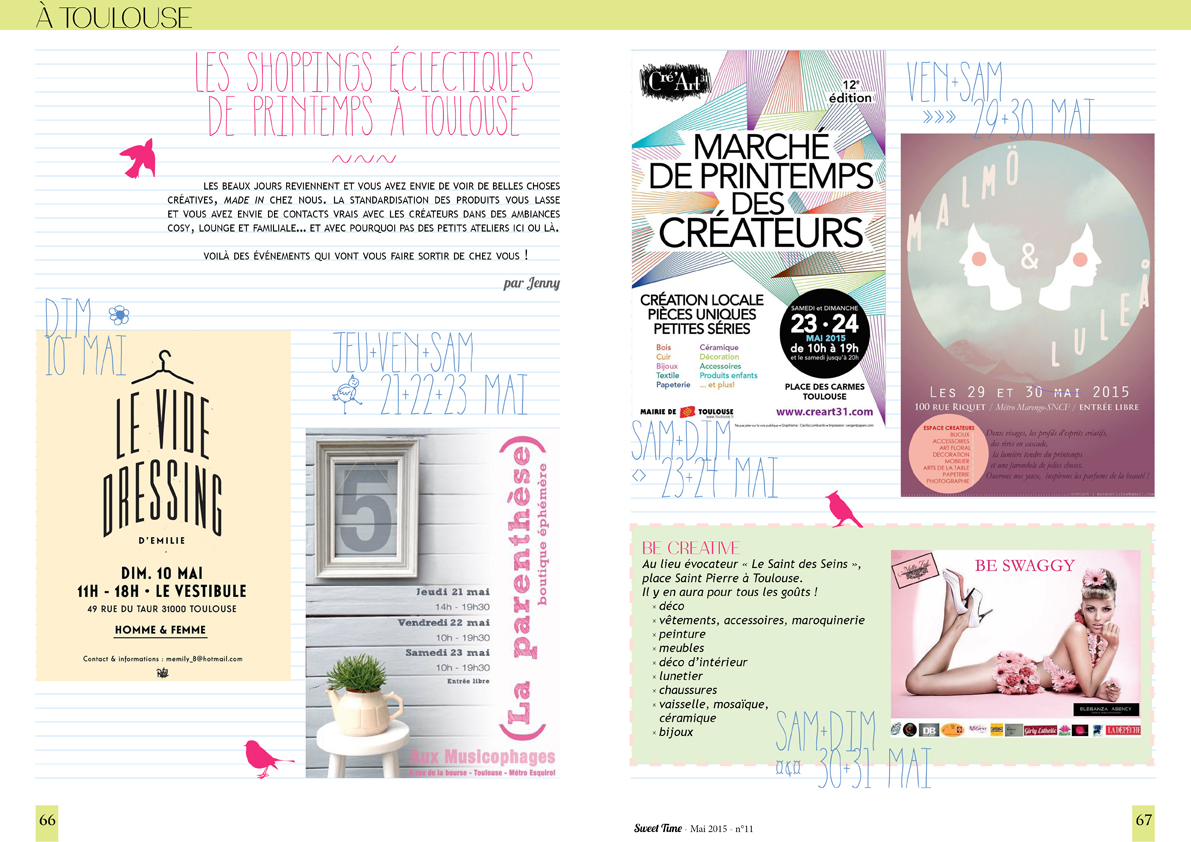 isabelle reynier graphiste - double page sorties Toulouse pour Sweet time magazine